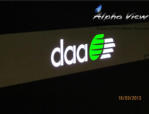 DAA branding on the stands - Laser cut, 2 colour iluminated logo