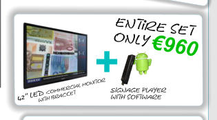 42'' led Commercial monitor               with bracket Signage player with software + €960 entire set  only